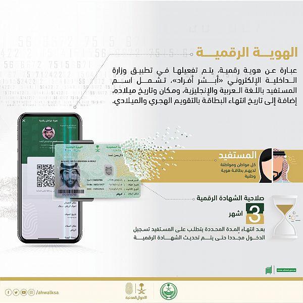 الأحوال المدنية تطلق نسخة إلكترونية من الهوية الوطنية 1
