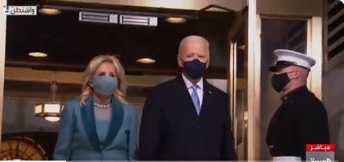 صورة فيديو.. لحظة وصول بايدن وزوجته إلى منصة التنصيب